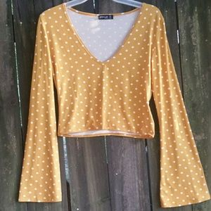 Tops - Yellow/White Polka Dot Crop Top